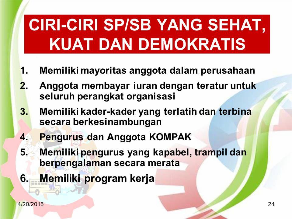 CIRI-CIRI SP/SB YANG SEHAT, KUAT DAN DEMOKRATIS