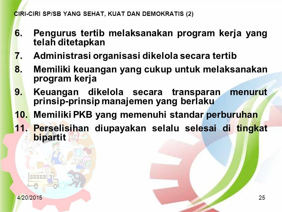 CIRI-CIRI SP/SB YANG SEHAT, KUAT DAN DEMOKRATIS (2)