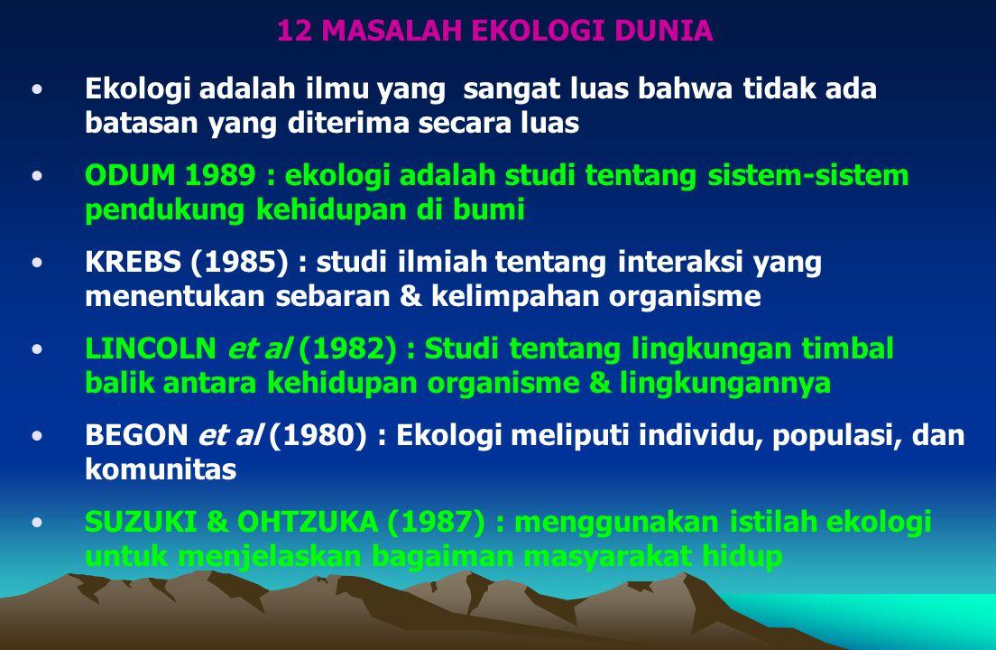 12 MASALAH EKOLOGI DUNIA Ekologi adalah ilmu yang sangat luas bahwa tidak ada batasan yang diterima secara luas.