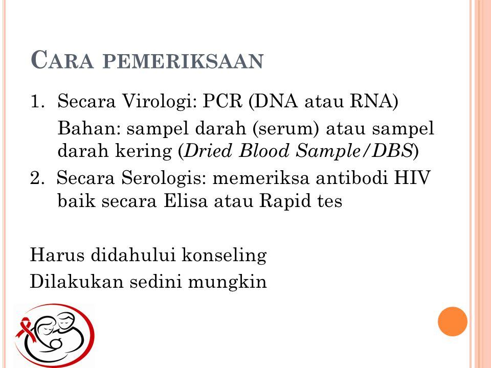 Cara pemeriksaan Secara Virologi: PCR (DNA atau RNA)