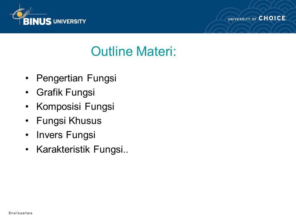 Outline Materi: Pengertian Fungsi Grafik Fungsi Komposisi Fungsi