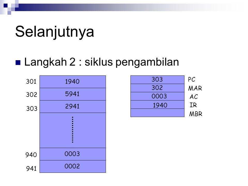 Selanjutnya Langkah 2 : siklus pengambilan PC 301 1940 MAR 5941 302