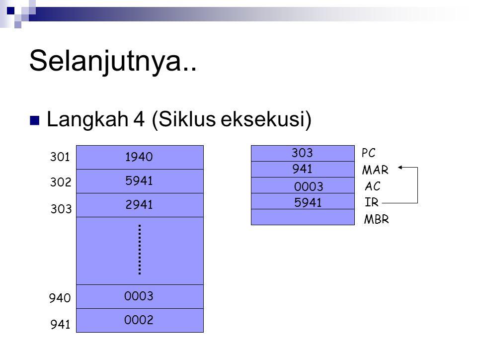 Selanjutnya.. Langkah 4 (Siklus eksekusi) PC 301 1940 MAR 5941 302