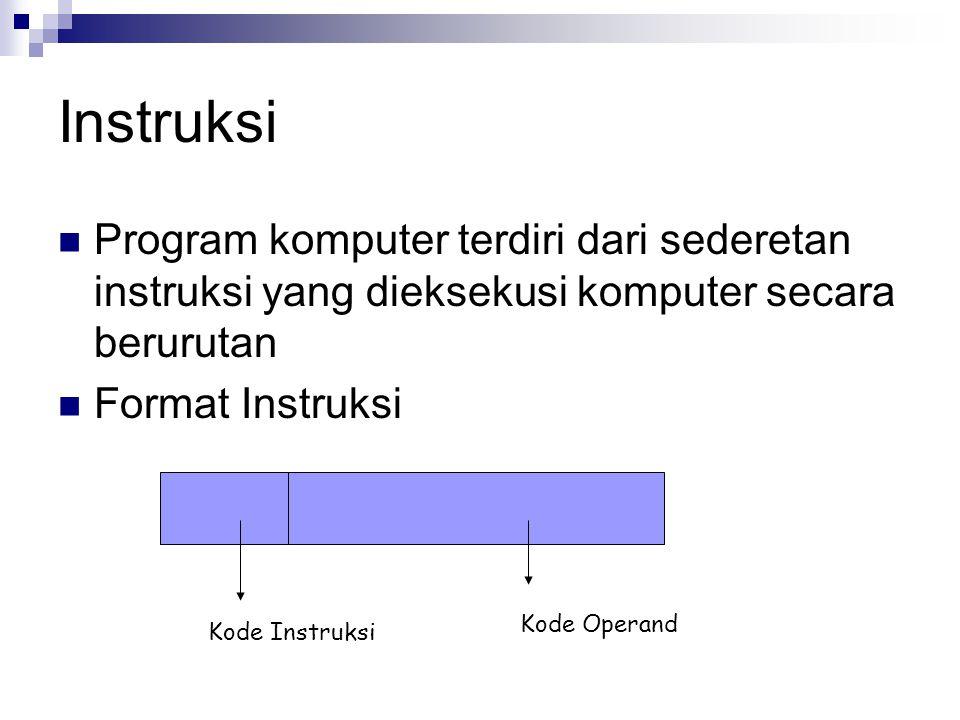 Instruksi Program komputer terdiri dari sederetan instruksi yang dieksekusi komputer secara berurutan.
