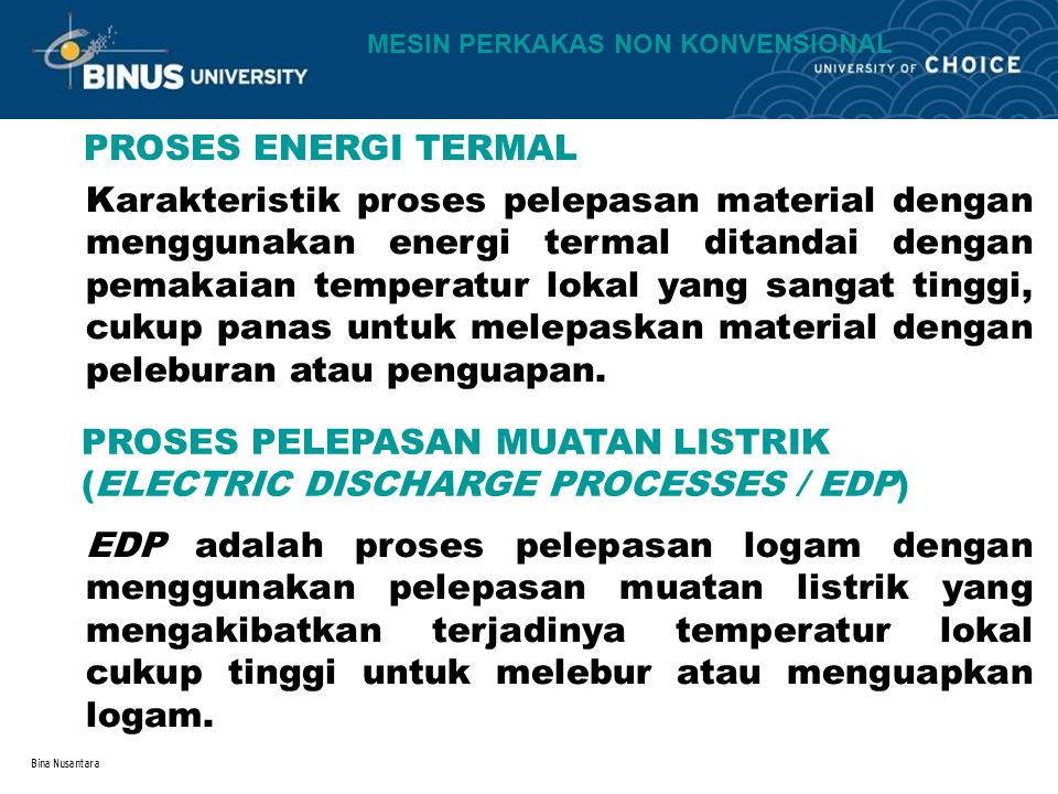 PROSES PELEPASAN MUATAN LISTRIK (ELECTRIC DISCHARGE PROCESSES / EDP)