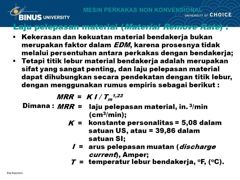 Laju pelepasan material (Material Remove Rate) :