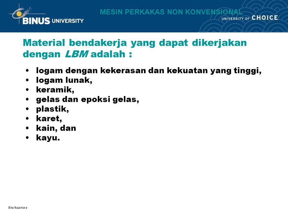 Material bendakerja yang dapat dikerjakan dengan LBM adalah :