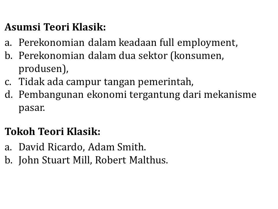 Asumsi Teori Klasik: Perekonomian dalam keadaan full employment, Perekonomian dalam dua sektor (konsumen, produsen),