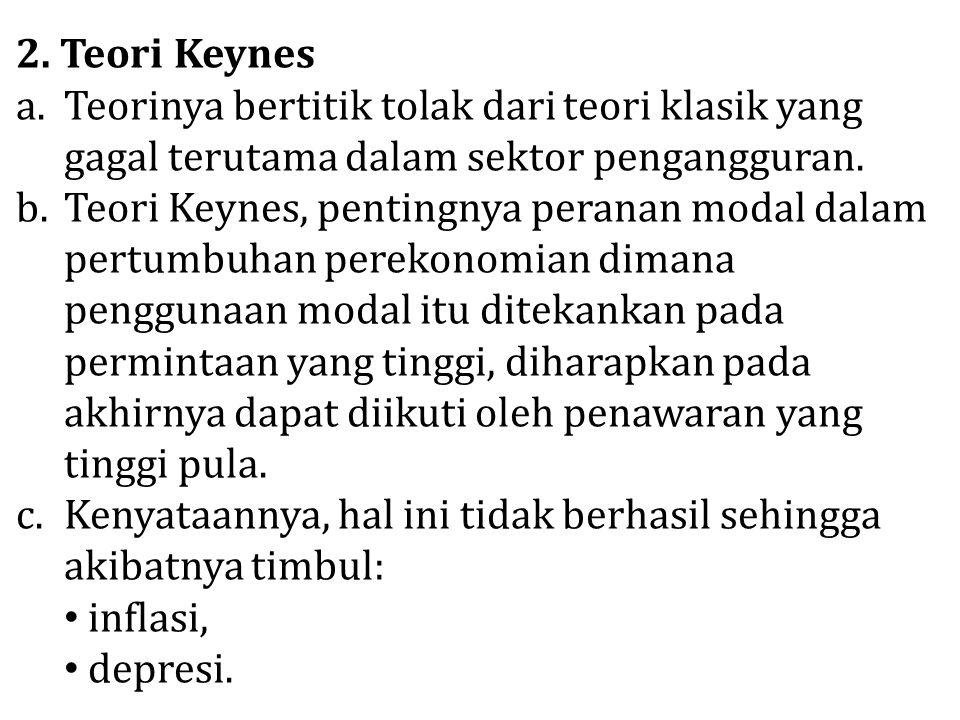 2. Teori Keynes Teorinya bertitik tolak dari teori klasik yang gagal terutama dalam sektor pengangguran.