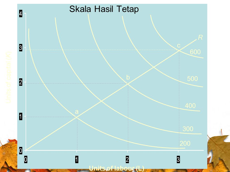 Skala Hasil Tetap R c 600 Units of capital (K) b 500 400 a 300 200
