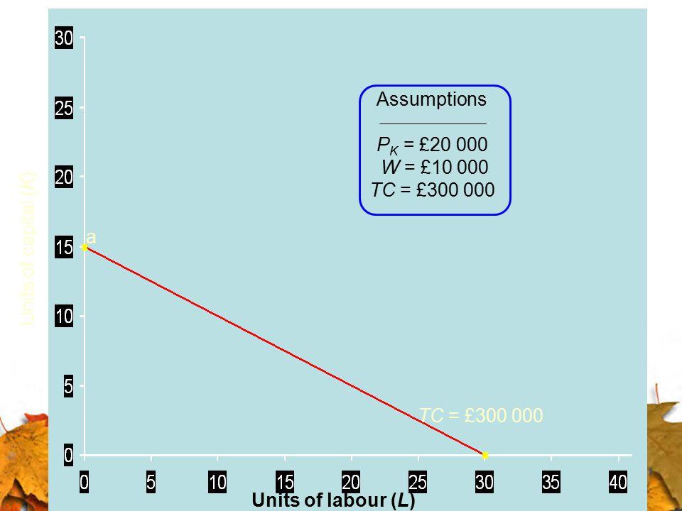 Assumptions PK = £20 000. W = £10 000. TC = £300 000.