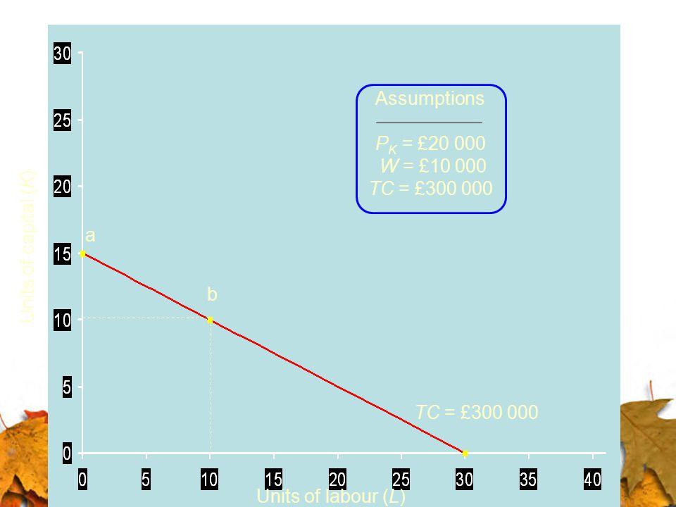 Assumptions PK = £20 000. W = £10 000. TC = £300 000. a. Units of capital (K) b. TC = £300 000.
