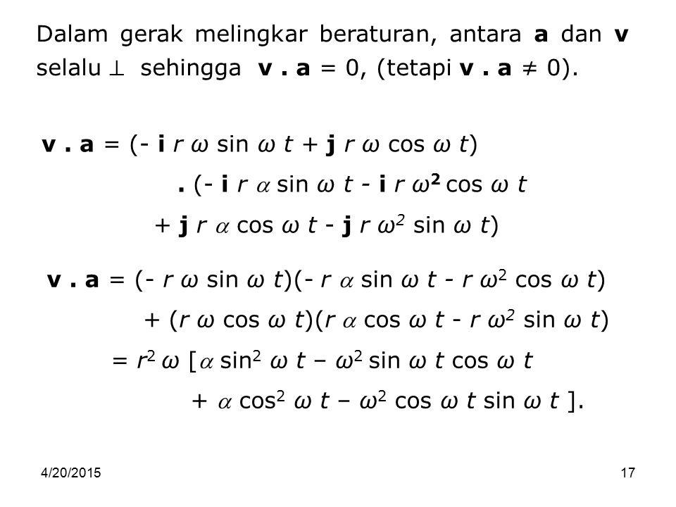 v . a = (- i r ω sin ω t + j r ω cos ω t)