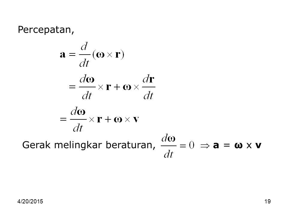 Gerak melingkar beraturan,  a = ω x v