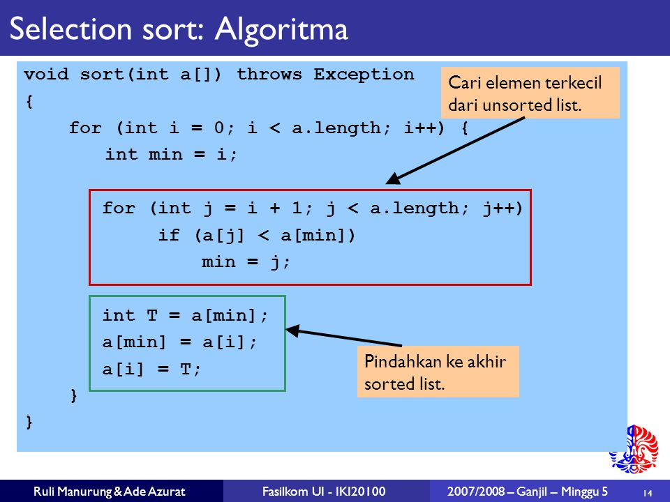 Selection sort: Algoritma