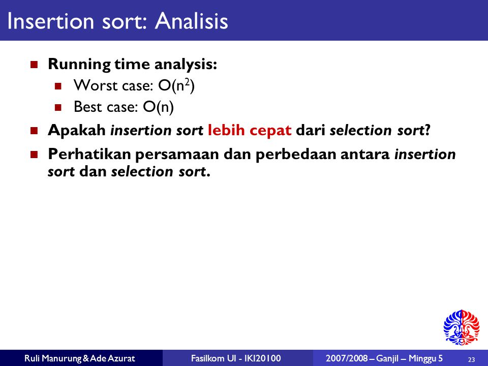 Insertion sort: Analisis