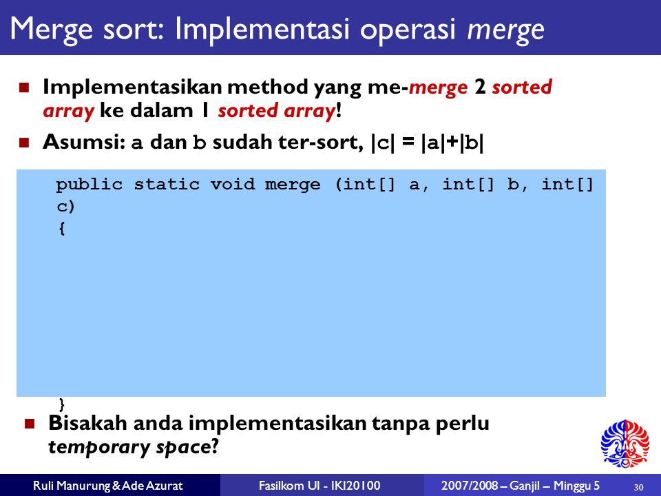 Merge sort: Implementasi operasi merge