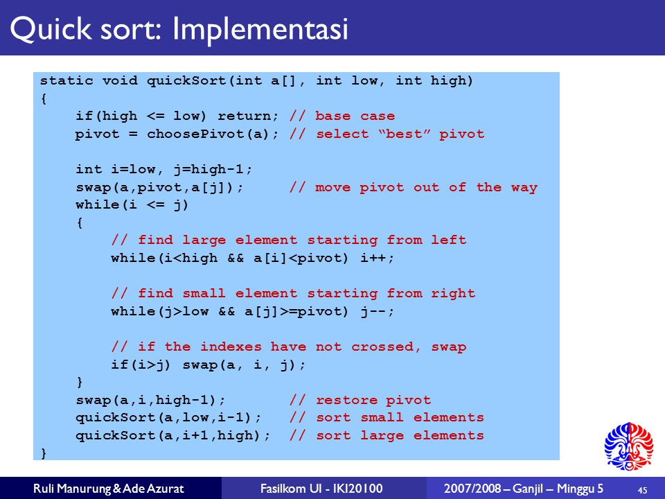 Quick sort: Implementasi