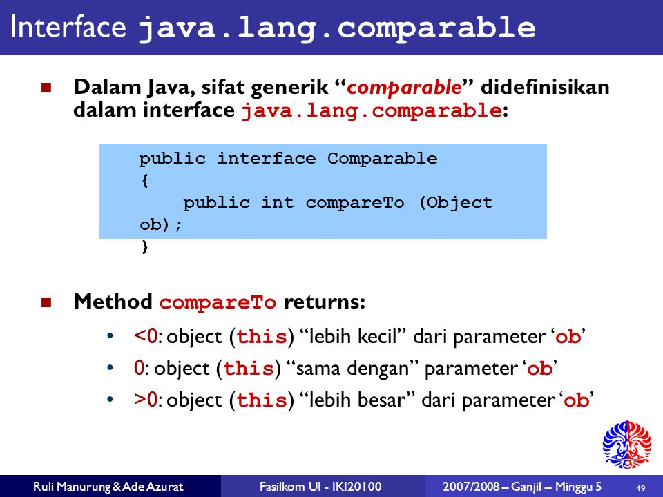 Interface java.lang.comparable