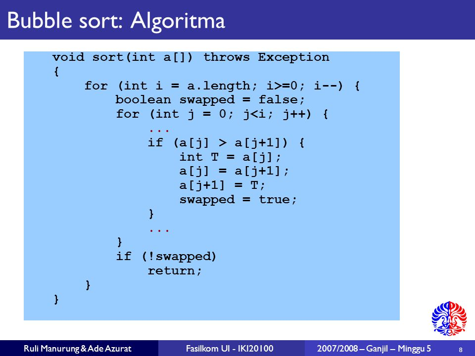 Bubble sort: Algoritma