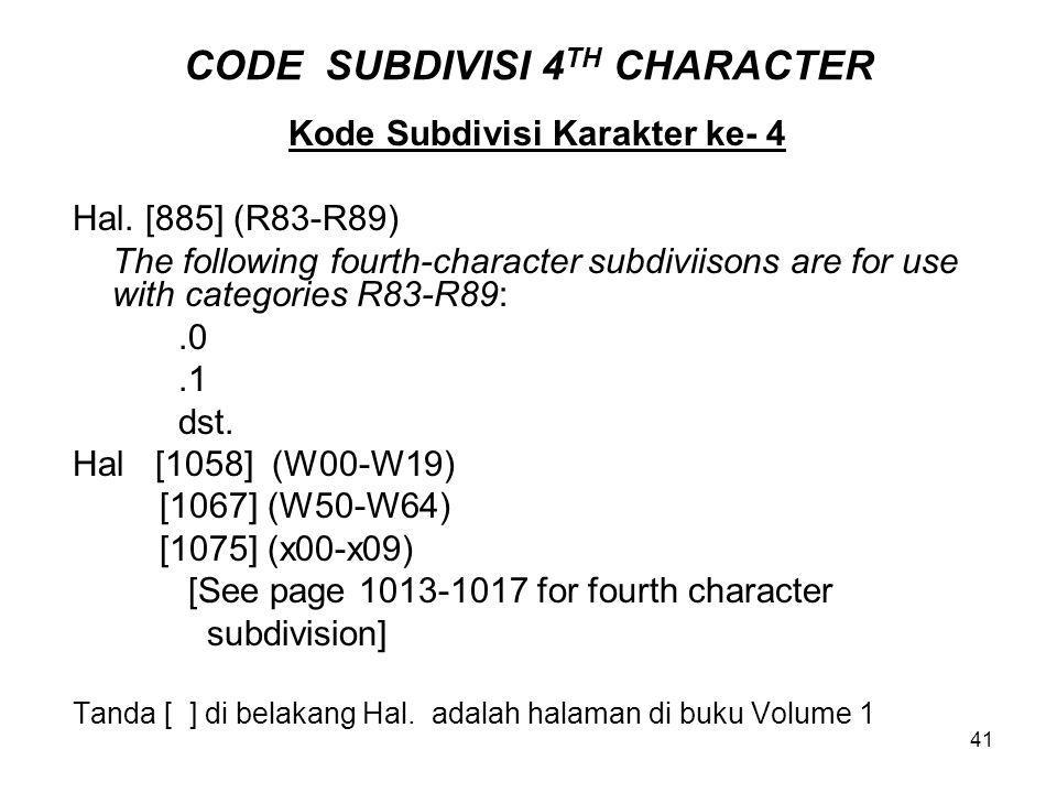 CODE SUBDIVISI 4TH CHARACTER