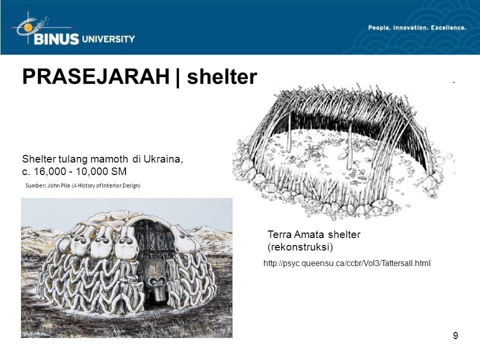 PRASEJARAH | shelter Shelter tulang mamoth di Ukraina, c. 16,000 - 10,000 SM. Sumber: John Pile (A History of Interior Design)