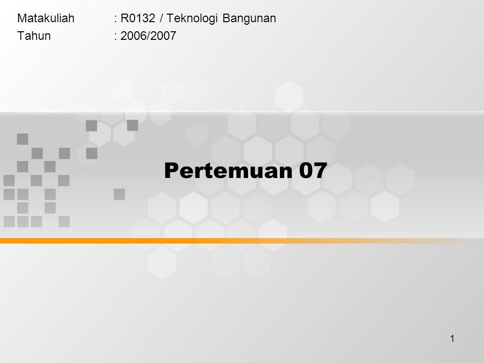 Matakuliah : R0132 / Teknologi Bangunan Tahun : 2006/2007