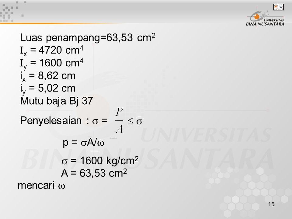 Luas penampang=63,53 cm2 Ix = 4720 cm4. Iy = 1600 cm4. ix = 8,62 cm. iy = 5,02 cm. Mutu baja Bj 37.