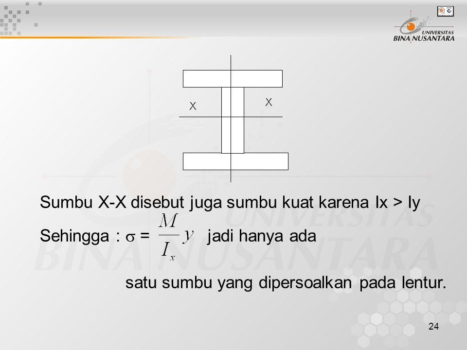 Sumbu X-X disebut juga sumbu kuat karena Ix > Iy