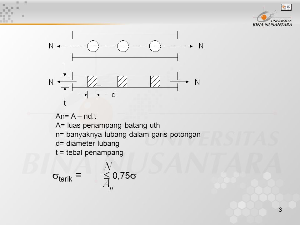 tarik =  0,75 An= A – nd.t A= luas penampang batang uth
