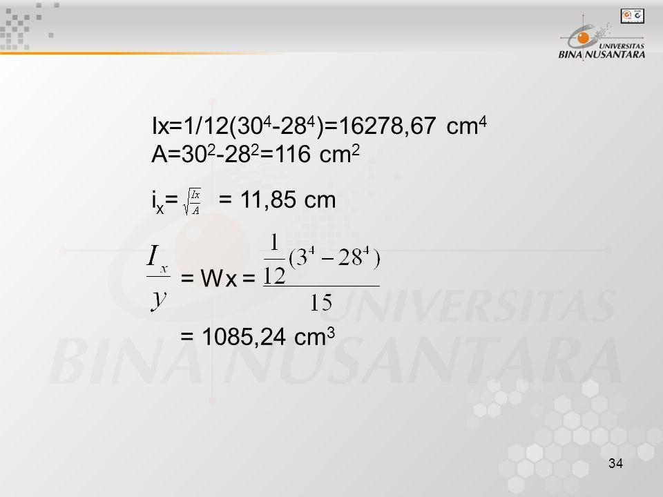 Ix=1/12(304-284)=16278,67 cm4 A=302-282=116 cm2 ix= = 11,85 cm = Wx = = 1085,24 cm3