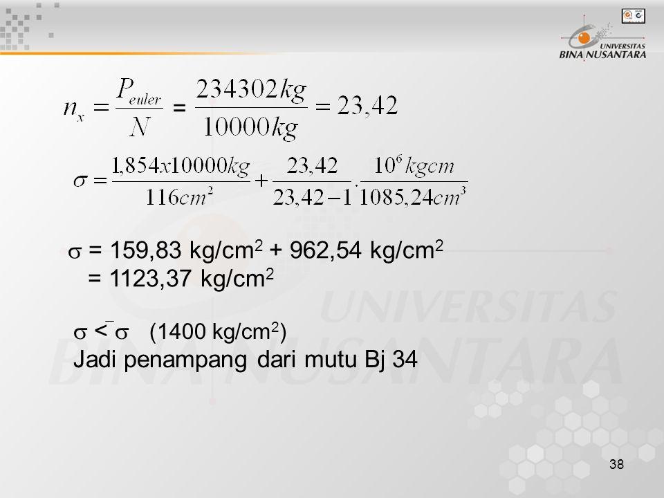 =  = 159,83 kg/cm2 + 962,54 kg/cm2. = 1123,37 kg/cm2.