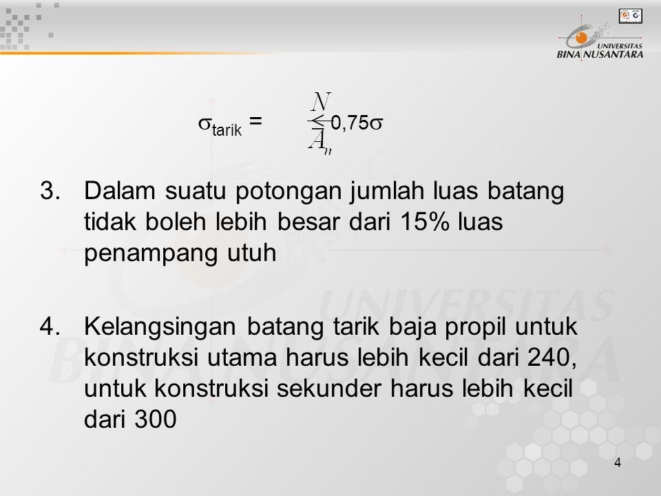 tarik =  0,75 Dalam suatu potongan jumlah luas batang tidak boleh lebih besar dari 15% luas penampang utuh.