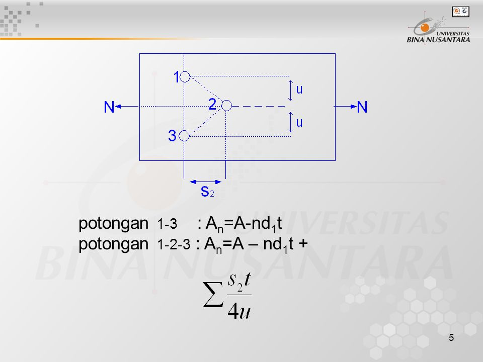 potongan 1-3 : An=A-nd1t potongan 1-2-3 : An=A – nd1t +