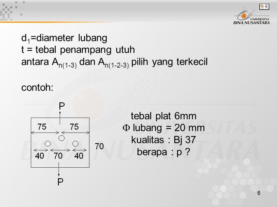 d1=diameter lubang t = tebal penampang utuh. antara An(1-3) dan An(1-2-3) pilih yang terkecil. contoh: