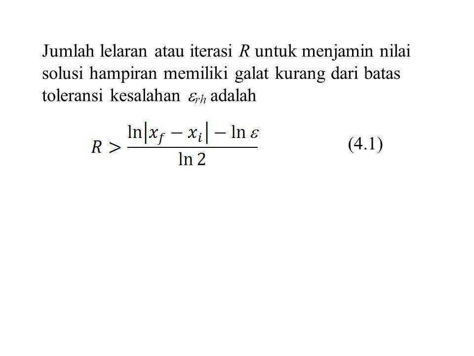 Jumlah lelaran atau iterasi R untuk menjamin nilai solusi hampiran memiliki galat kurang dari batas toleransi kesalahan rh adalah