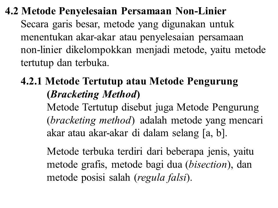 4.2 Metode Penyelesaian Persamaan Non-Linier