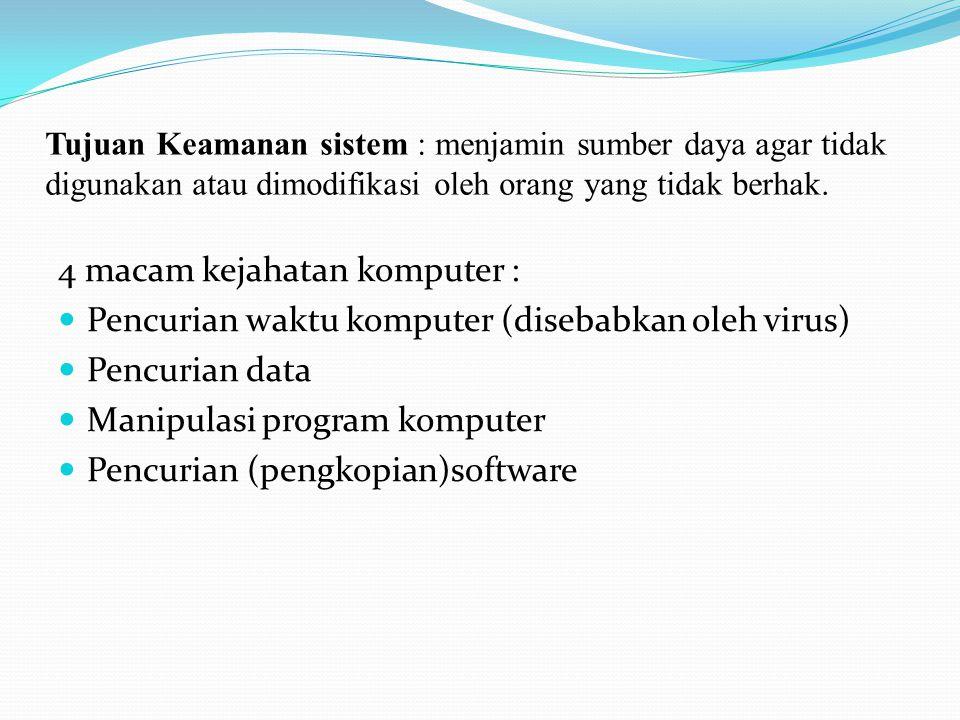 4 macam kejahatan komputer :