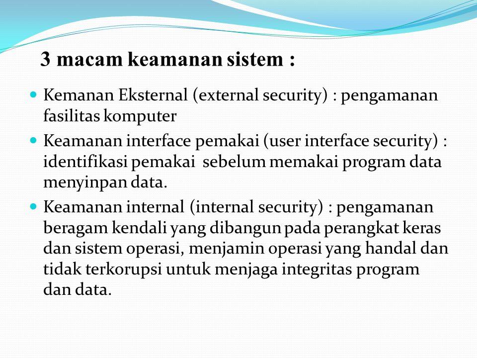 3 macam keamanan sistem :