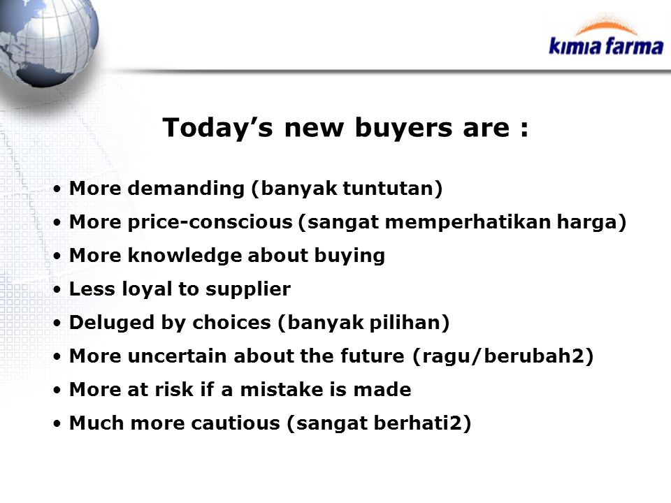 Today's new buyers are :