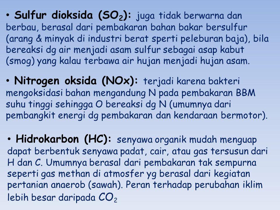 Sulfur dioksida (SO2): juga tidak berwarna dan berbau, berasal dari pembakaran bahan bakar bersulfur (arang & minyak di industri berat sperti peleburan baja), bila bereaksi dg air menjadi asam sulfur sebagai asap kabut (smog) yang kalau terbawa air hujan menjadi hujan asam.