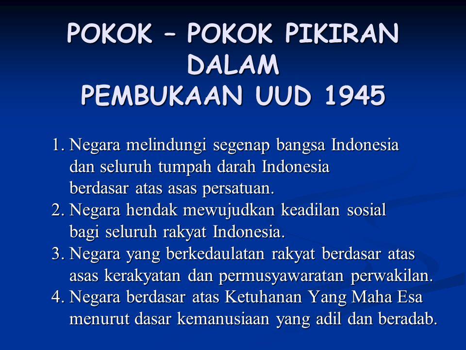 POKOK – POKOK PIKIRAN DALAM PEMBUKAAN UUD 1945