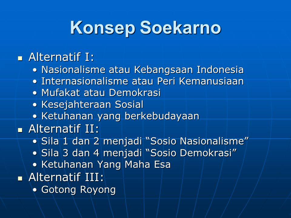 Konsep Soekarno Alternatif I: Alternatif II: Alternatif III: