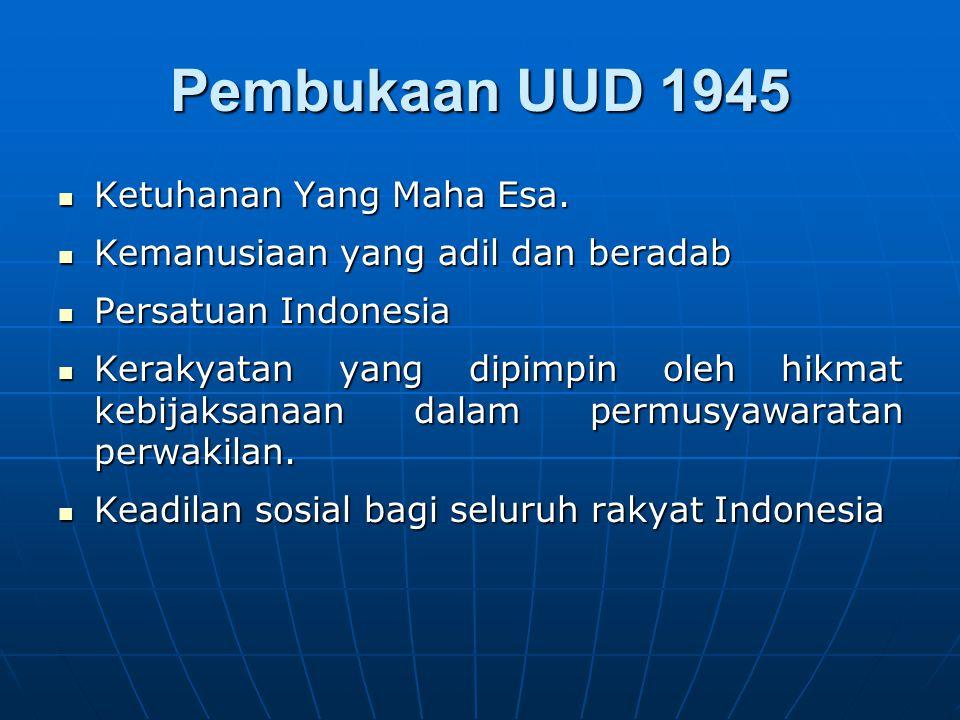 Pembukaan UUD 1945 Ketuhanan Yang Maha Esa.