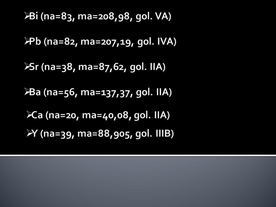 Bi (na=83, ma=208,98, gol. VA) Pb (na=82, ma=207,19, gol. IVA) Sr (na=38, ma=87,62, gol. IIA) Ba (na=56, ma=137,37, gol. IIA)