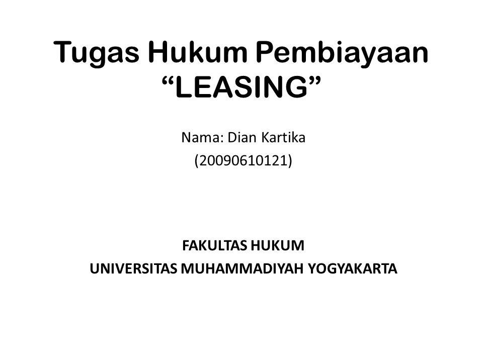 Tugas Hukum Pembiayaan LEASING