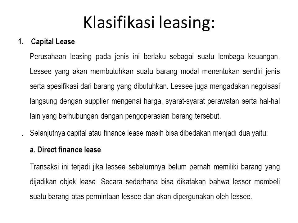 Klasifikasi leasing: