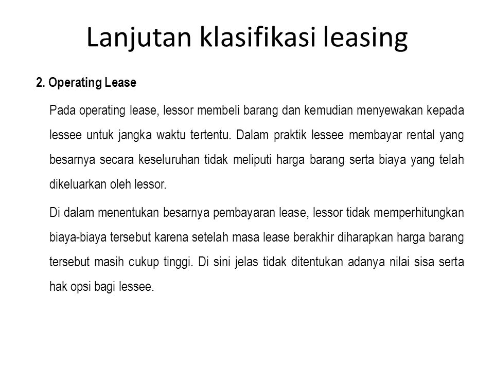Lanjutan klasifikasi leasing