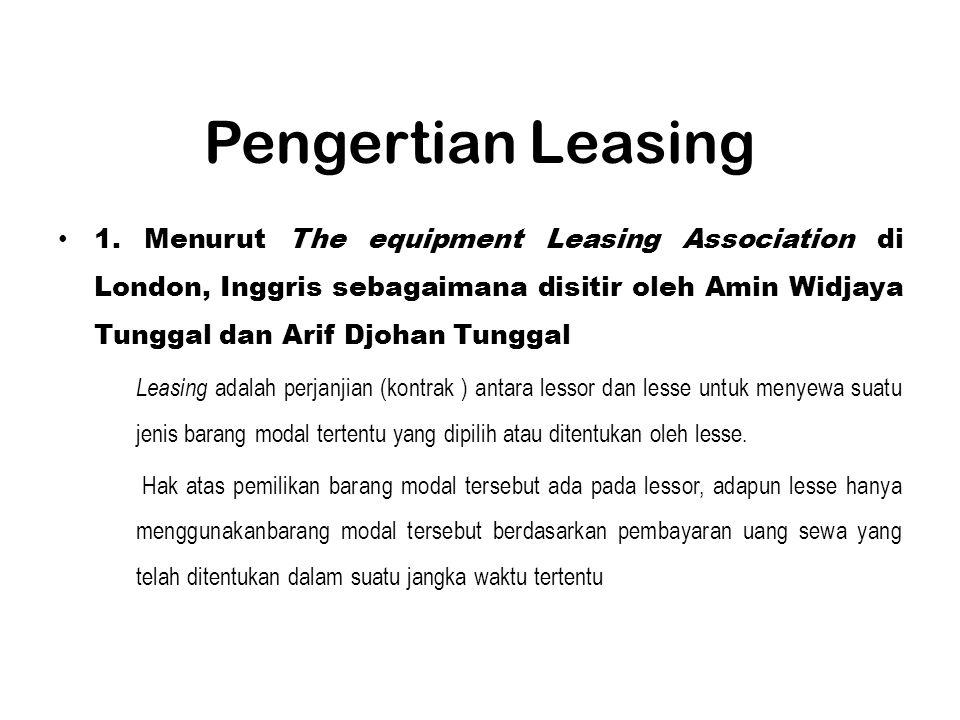 Pengertian Leasing