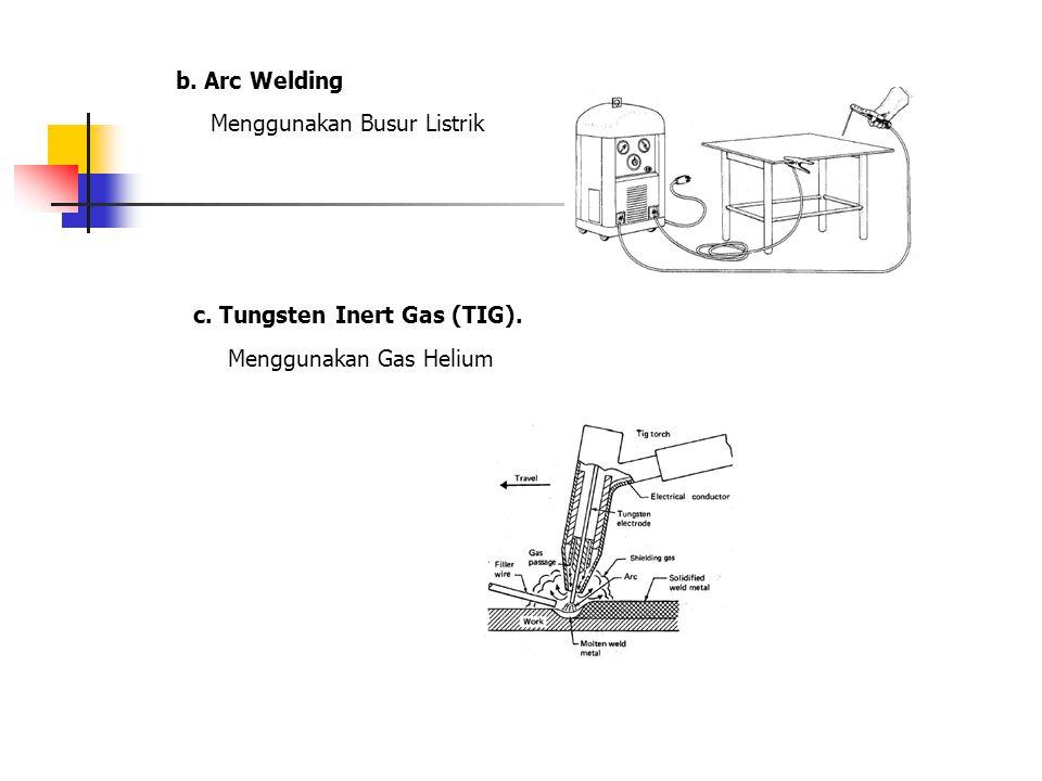 b. Arc Welding Menggunakan Busur Listrik c. Tungsten Inert Gas (TIG). Menggunakan Gas Helium